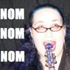 "sweetmusic_27: A photo of me biting the scroll of my violin, reading ""Nom Nom Nom"" (Fiddlenom)"