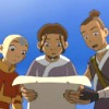 arduinna: Katara, Aang, and Sokka from Avatar, startled by a flyer (shocking news)