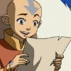 arduinna: Aang from Avatar, happy while reading a flyer (good news)