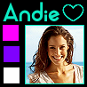 kaleidoscope_eyes: Andie's icon- A brunette woman in her early twenties wearing a white dress and smiling. Colored boxes down the side. (Andie)