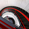 nenya_kanadka: black, red & white curving staircase (@ lighthouse staircase)