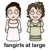 "deird1: chibis of Kitty and Lydia from P&P, with text ""fangirls at large"" (Kitty Lydia fangirls)"