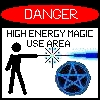 azurelunatic: Danger: High Energy Magic Use Area. Stick figure firing wand; pentagram.  (high energy magic)