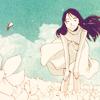 ext_41384: Girl, white dress, in a field of white flowers, like snow. (freya)