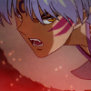 anaraine: Crop of Sesshoumaru's face in an angry expression; golden eyes, vivid stripes on his cheeks, and fangs in his mouth. ([inuyasha] inhuman)