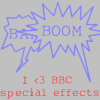 sound_design: Boom and Bang in overlapping spikey speech bubbles. Text: I <3 BBC special effects (sound effects)