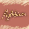 mythdriven: Abstract icon with text: mythdriven. (Ear Noms)