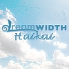 dreamwidth_haikai: the words 'dreamwidth haikai' superimposed over white puffy clouds on a baby blue sky (baby blue sky)