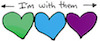 "rosefox: Three hearts in green, blue, and purple, with the caption ""<-- I'm with them -->"" (family-subtlehouse)"