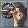 matgb: Art of a Chinese-American female Sheriff's Deputy aiming a rifle, with a tin star as a background image (Deputy)