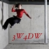 "rydra_wong: A woman in a red top does a parkour run along a vertical wall. Text: ""3W4DW"" (3W4DW -- generations)"