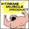 "lizcommotion: A microsoft paint drawing of a muscle person that says ""Xtreme muscle product"" (Xtreme muscle product)"