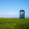 yati: The TARDIS standing on a green field. (something borrowed)
