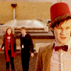 yati: The Doctor wearing a fez, with Amy and Rory in the background. (fezes are cool)