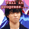 "tani: Sho biting his lip with text ""Fail in progress"" (Sho Fail)"
