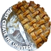 "darkemeralds: Photo of half an apple pie, with the caption ""First Create The Universe"" (First Create The Universe)"