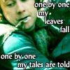 "kaydeefalls: pippin with leaf pin in mouth, text ""one by one my leaves fall, one by one my tales are told"" (one by one)"