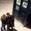 kaydeefalls: rose/ten outside TARDIS, looking up into the sky (infinite possibilities)