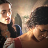 kaydeefalls: morgana/gwen sad shoulder-touching moment (morgana/gwen)