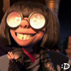 kaydeefalls: edna with flames reflected in glasses doing this: :D (ever so slightly evil)