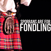 "nilamarthiel: Closeup Frazer Hines, complete with sporran, text saying ""sporrans are for fondling"", which they are. (Sporrans are for fondling)"