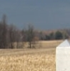 aaaaaaaagh_sky: Yellowed grass with a fuzzy dark treeline and dark sky in the background and a whitish obelisk top in the foreground (Canada - grass and treeline and concrete)