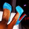 timeasmymeasure: close up shot of a pair of bright blue louboutin heels (stock: blue suede shoes)