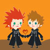 tyger: Axel and Roxas' Avatar Kingdom chibis, holding hands, with a heart. (Axel/Roxas - chibis)