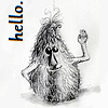 "capriuni: A shaggy, teardrop-shaped monster . waving at the viewer, with text: ""Hello"" (hello)"