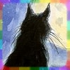 rainbow: drawing of black cat looking away at the full moon (moon cat)