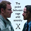 """fengirl88: Erik and Charles with text """"The point between rage and serenity"""" (point)"""