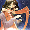 prodigy: Charles Vess illustration of a harpist and a woman leaning over him. (had i known but yesterday)