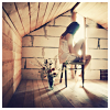 rosesbynoname: Brunette girl in an attic room of her own, with light shining from the window. (attic room of my own, peace and quiet, thinking)