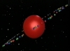 crazyscot: A large red sphere with many small coloured spheres orbiting it (planet weird)