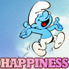 attie: A joyous smurf over the word 'happiness' (misc - happiness)