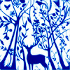 attie: Outline drawing of a deer in a forest, his antlers disappearing in the branches reaching up to the sky. (justpretty - blue forest)