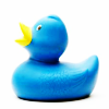 attie: A blue rubber duck. (duck - blue duck)