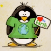 attie: A penguin celebrating earth day. (misc - green penguin)