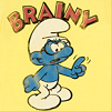 "attie: A bespectacled smurf and the word ""brainy"". (geek - brainy smurf)"