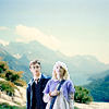 attie: Luna and Neville standing side by side with mountains in the background. (hp - luna & neville)