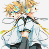 attie: Kagamine Rin & Kagamine Len standing back to back, the headphone cable encircling them. (vocaloid - kagamine rin & len 2)