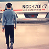 attie: Spock, from the back, walking towards a shuttle. (st - spock shuttle)