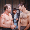 attie: Kirk and Spock half naked, bound, and bleeding. (st - kirk and spock halfnekkid!time)