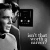"attie: Kirk and Spock half-turned away from each other, ""Isn't that worth a career?"" (st - k/s isn't that worth a career)"