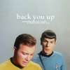 attie: Spock, a half-pace behind Kirk: back you up (st - k/s back you up)