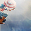 teaotter: Captain America jumps in, seen from below (jump right in)