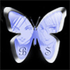 bishieobsessed: Blue butterfly with black background, Soubi and Nisei from Loveless in it. (beloved sacrifice)