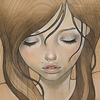 amihan: art of audrey kawasaki of a person with long brown hair, looking down ([art] audrey kawasaki (down))