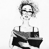 amihan: black and white art from unknown artist of a person with eyeglasses holding a book ([art] bookish)
