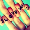 outofmymind: written I love you on fingers of interlocked hands (I love you)